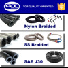 H15 Flexible fuel resistant racing hose line, high temperature high pressure nylon and stainless steel braided fuel hose