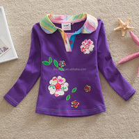 2-6Y (65545#Purple and Pink )Spring Autumn Nova Brand Flowers appliqued Long Sleeve Cotton Kids polo shirt Baby Clothing