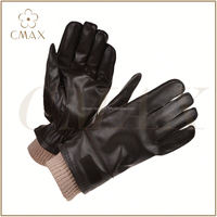 Breathable knit back absorb shocks leather gloves
