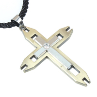Christian cross necklace, Hollow out setting zircon pendant retro jewelry wholesale