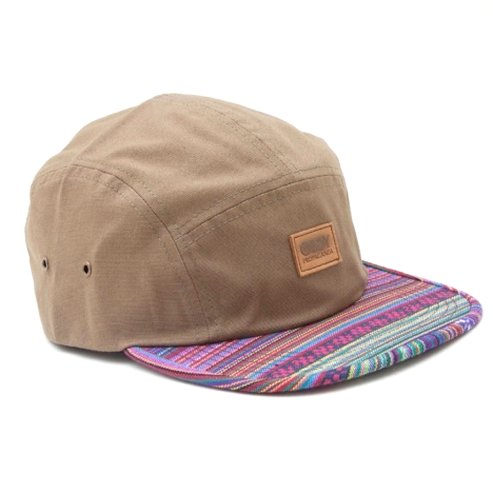 strapback flat brim fashion label patch 5 panel cap/Leather Strap 5 panel hat