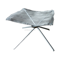 Stainless Steel Portable Folding Fire Pit with Carrying Case Outdoor Bonfire Stand Mesh Sheet