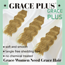 "Grace Plus 8-30"" natural wave 125 natural blonde curly human hair extensions for white women water wave hair weave"