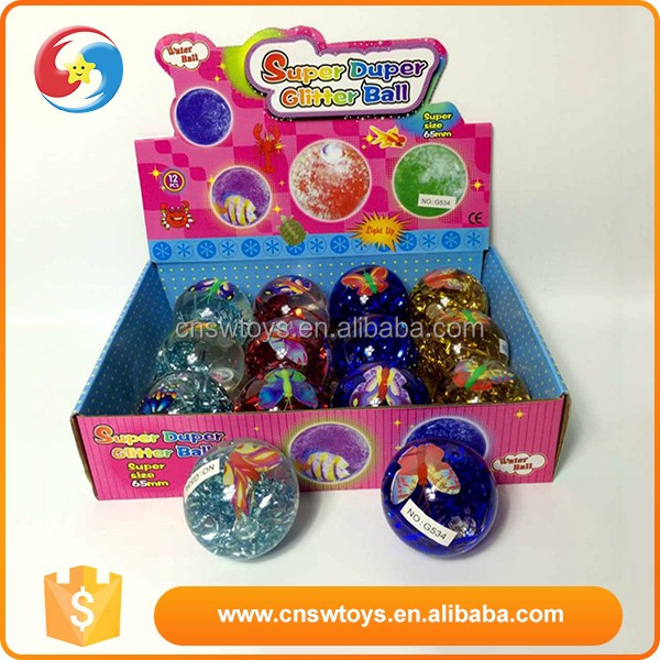 Fashion colorful brilliant flashing glitter children bounce ball