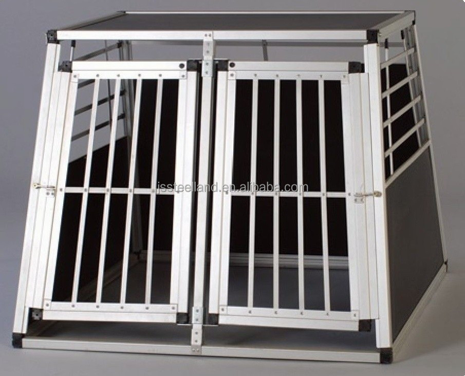 folding easy to assemble two doors aluminum dog cage