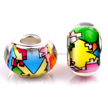 Special European Charm Colorful Lampwork Resin Glass Big Hole Beads For Bracelet