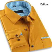 Wholesale Men's Long Sleeve Thick Cotton Solid Color Flannel Shirts Corduroy Shirt