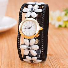 2016 most popular korea women watch leather with diamond vintage lady watch
