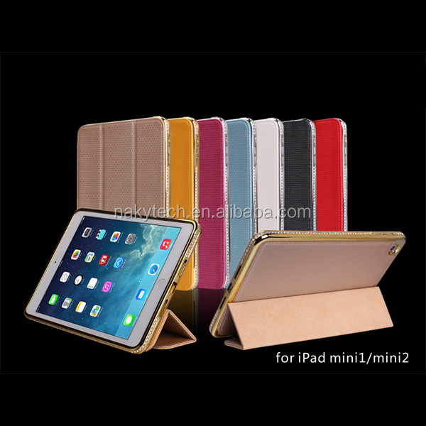 Luxury Crystal Rhinestone Diamond Bling Metal Case Cover Bumper For iPad mini