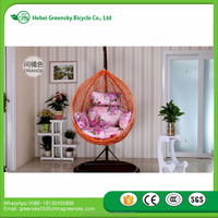 2017 Bedroom rattan wicker cane hanging egg swing chair with stand Cane Hang chair