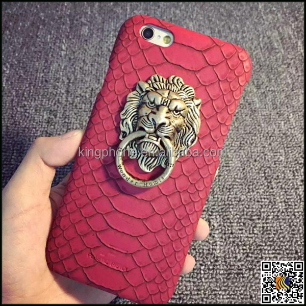 Lion head metal buckle Snake pattern leather cell phone case for iphone 6