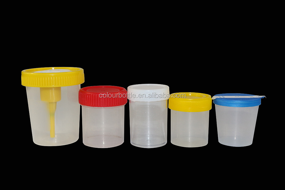 specimen collection stool cup fecal container with spoon PP color cap