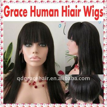 140% density Natural straight Indian remy hair full lace wig with bangs