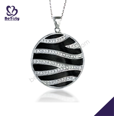 Black painting cz costume ladies necklace accessory jewelry
