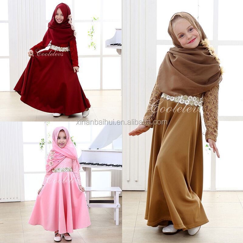 Muslim Malay national dress for 1-12 years old <strong>kids</strong> Pure color long lace dress and scarf children princess party dress