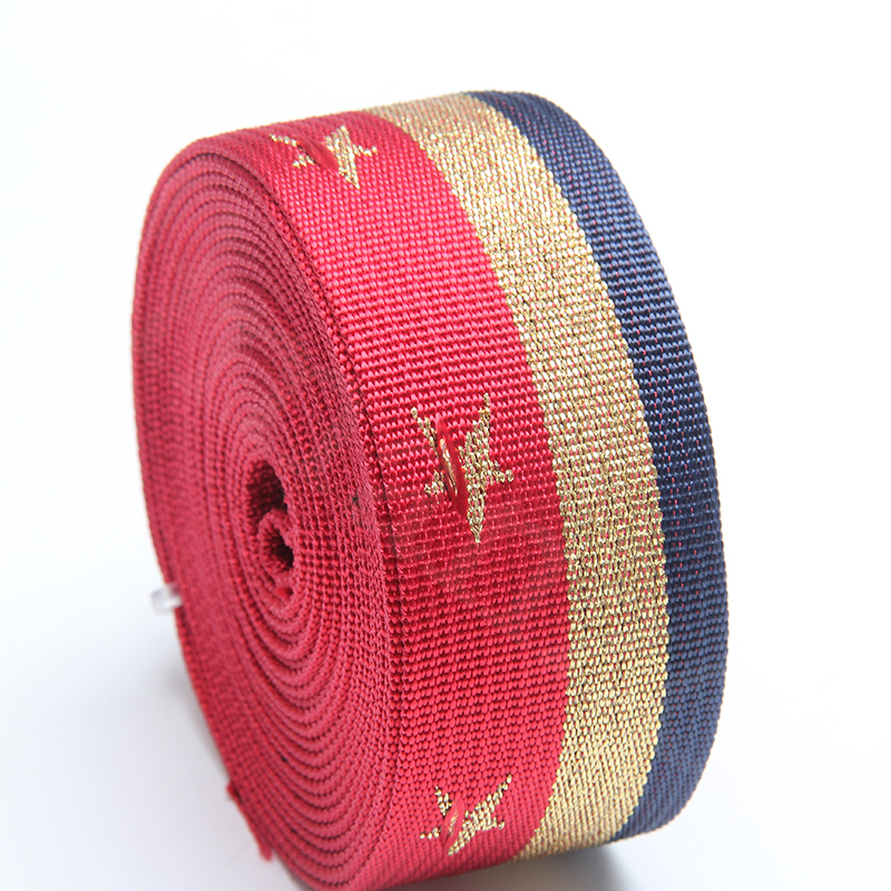 Top quality black polyester with gold line 5 star webbing multi color 50mm new arrival