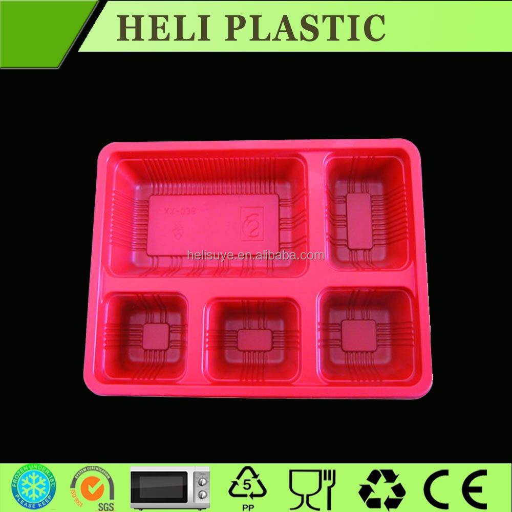 5 compartment rectangular disposable microwave lunch box