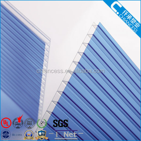 2 wall PC polycarbonate hollow sheet for greenhouse/roofing/ walls/shelters