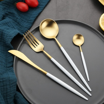 SS18/0 Restaurant Flatware Pvd Coating White And Gold Cutlery