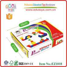 EZ1018 Goodkids 250pieces colorful Geometric Shapes Wooden Pattern Blocks