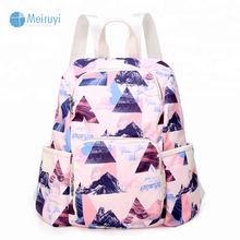 China supplier low MOQ headphone port leisure travel custom design printed waterproof cotton back pack bag bags school backpack
