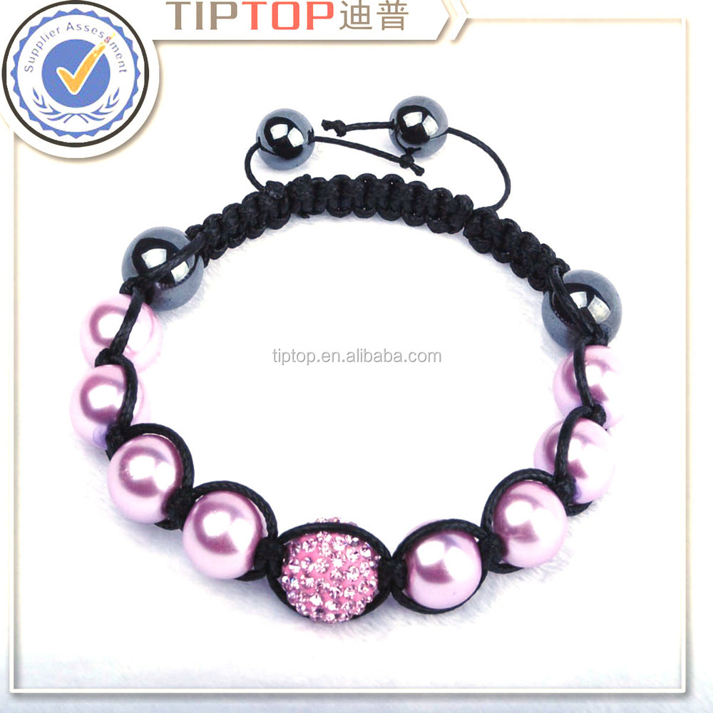 wholesale fashion promotional adjustment shamballa pearl bracelet