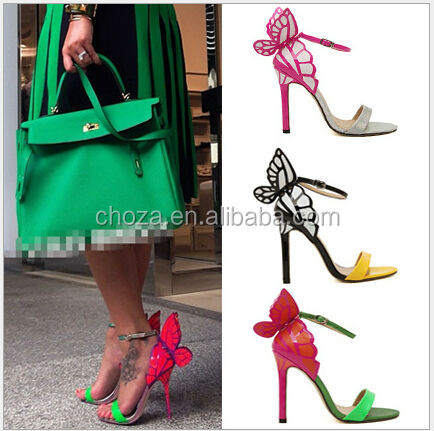 C54505S NEWEST STYLE MOST BEAUTIFUL COLORFUL BUTTERFLY LADIES HIGH HEEL SHOES