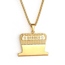 Mini Hair Styling Device Barber Jewelry Gold Color Chain Haircut Pendant Necklace For Men