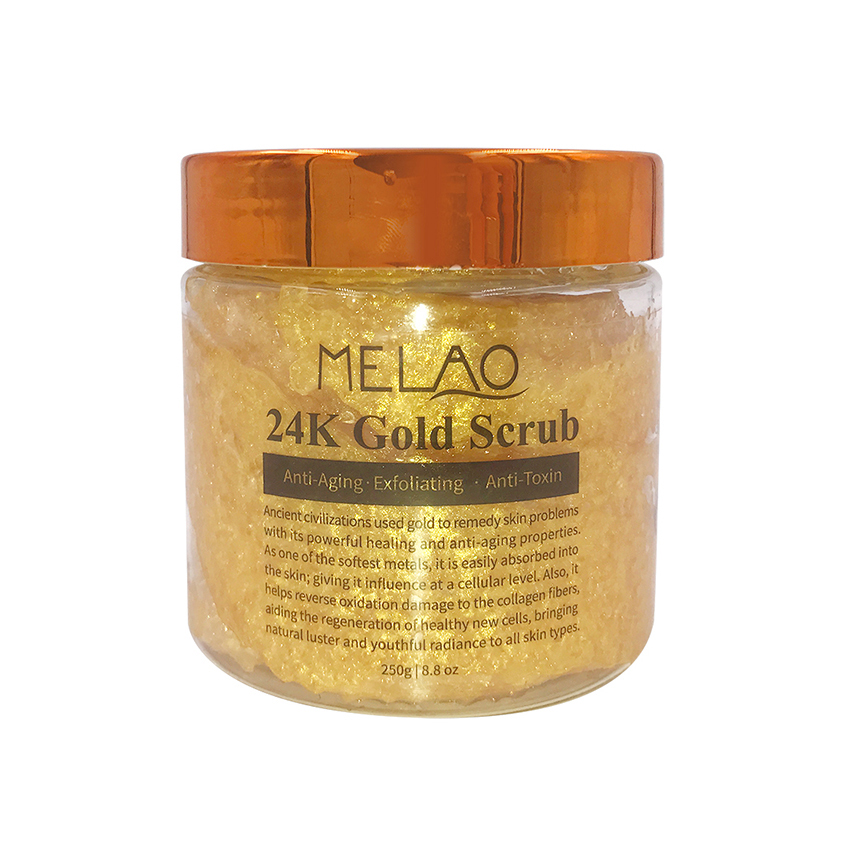 Private label anti aging exfoliating 100% 24k gold body facial scrub