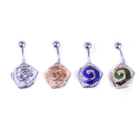 Fashionable Gold Rose Flower Navel Belly Button Ring Body Jewelry