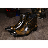 NA048 Hot SellFactory Sell HandMade Leather Formal Men Boots Men's Pointed Toe Metal Tip Height Increased Fashion Dress Boot