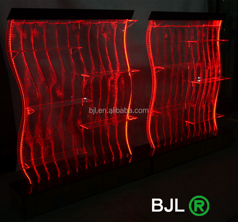 Cheap <strong>LED</strong> inside waterproof <strong>led</strong> acrylic wine cabinet with water bubble wall for bar and night club