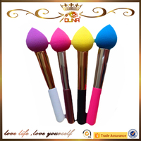 OUNA high quality wooden handle non-poisonous silicon colorful Teardrop powder puff