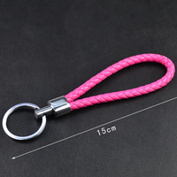 various fashion colors hand made keyring leather strap braided key chain