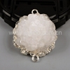 925 Sterling Silver Jewelry Natural Agate White Solar Quartz Druzy Connector