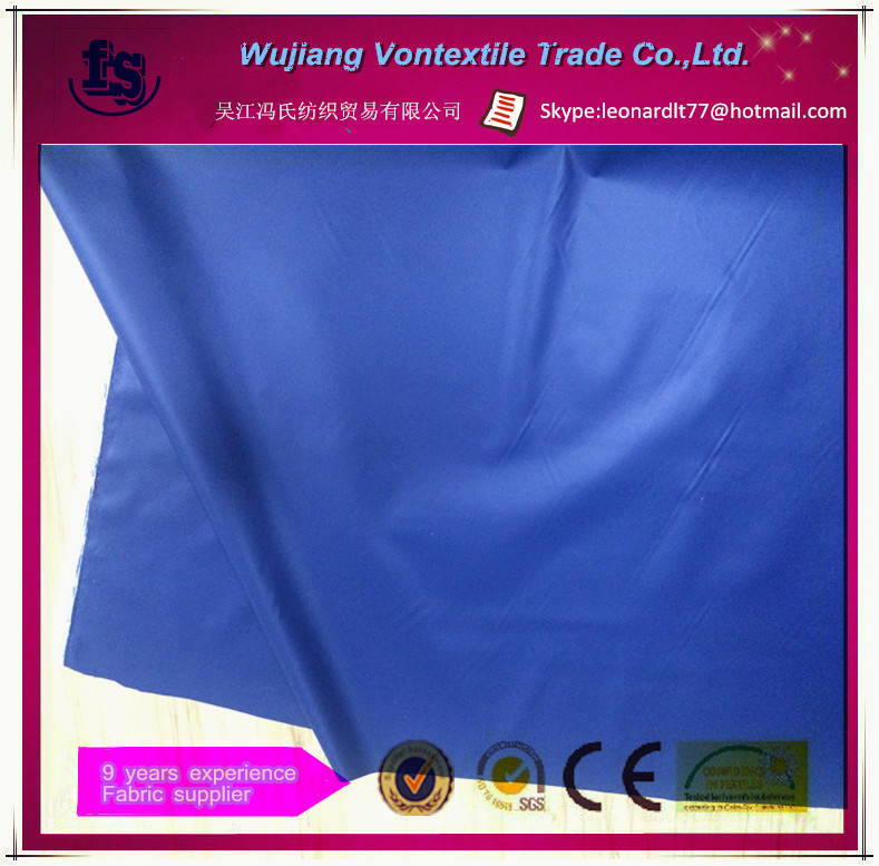 Wujiang polyester taffeta 190T WR with PU coating fabric for umbrella, tent and cover