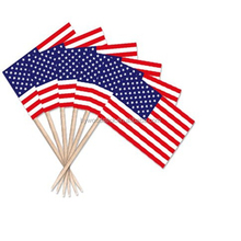 2014 New Design Healthy Decorated Flag Wooden Toothpick Food Pick