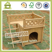 SDD01 durable wooden outdoor dog house with a balcony