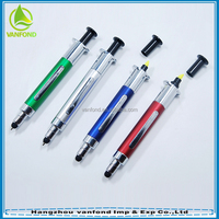High Quality Funny Retractable Syringe Shaped Stylus Ball Pen