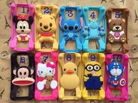 New Universal Silicone Frame bumper 3D Cartoon Stitch Minnie kitty Mobile Phone Bumper For Iphone 4S 5S 6 Case For Samsung S5 S6