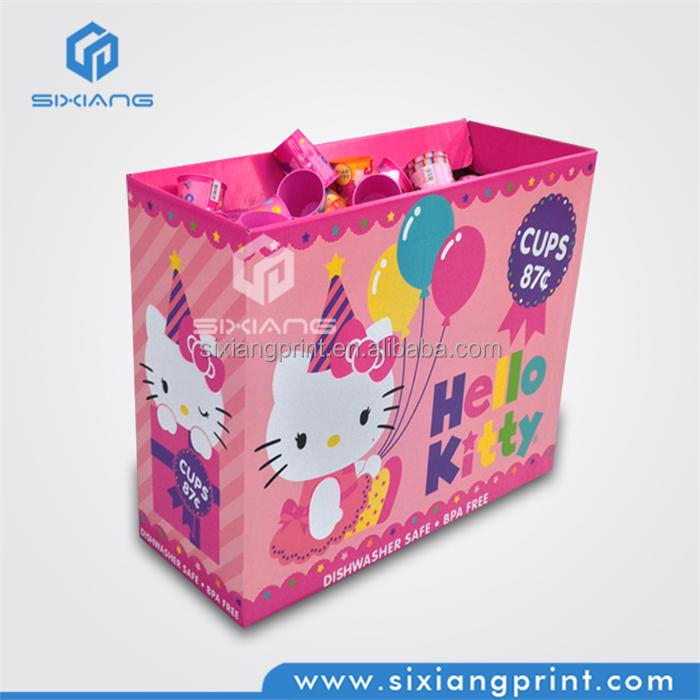 Promotional Hello kity corrugated paper dump bin display for cup & bottle