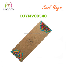 Mandala image printed on cork yoga mat, origanic natural rubber mat for yogies