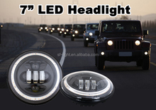 Harley motorcycles C REE led headlights Angel eyes sealed 7 inch 50w fog light with halo ring for Jeep Wrangler