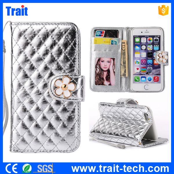 Grid Pattern Wallet Style Camellia Magnetic Stand PC + PU Leather Flip Case for iPhone 5S 5 with a Strap Silver