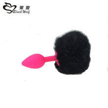 Black Wolf one Size Charming Silicone Short sm Fox Tail Anal plug