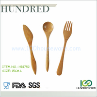 Hot sale promotional 15cm food safe grade kitchen tool bamboo 3pcs utensils set with knife, spoon & fork