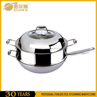 China manufacturer stainless steel korean wok with one steamer