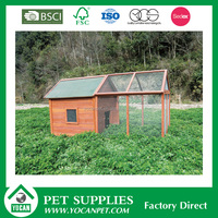 wooden chicken coop with running house iron wire fence