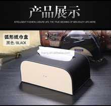 Hight quality home car decor leather tissue holder box with wooden