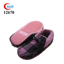 ladies plaid soft and comfortable moccasin indoor shoes